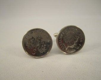 British 5 Pence Coin Cufflinks.  Front and back of coins.