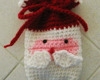 PATTERN ONLY - Small Crocheted Christmas Gift Bag - Santa Claus