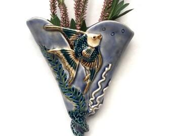 Angel Fish Wall Pocket Vase