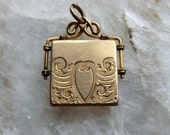 Edwardian Locket Watch Fob Engraved Shield Scroll Designs Square Shape Locket