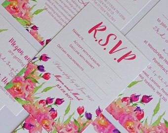 Pink and Purple Rose Watercolour Wedding Invitations. Wedding stationery, wedding stationary, RSVP, table name, place card, save the date.