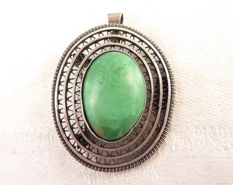 Handmade Vintage Sterling Eilat Israeli Stone Oval Brooch with Bale