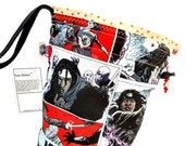 Small Knitting Project Bag Crochet Drawstring Tote WIP Bag -  Walking Dead Michonne