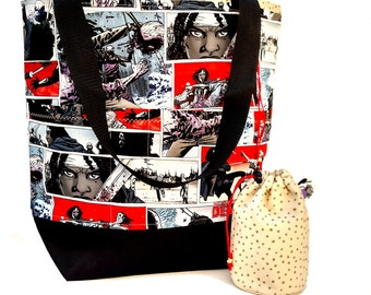 Studio Tote Extra Large Knitting Project Crochet WIP Tote Bag -  Walking Dead Michone