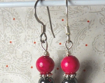 ON SALE 20% OFF Black and Pink candy dangle earrings - hematite earrings - pink fossil beads earrings