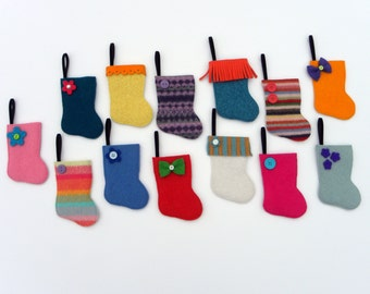 Advent Calendar -Rescued Wool Mini Stocking Ornaments - 2016 Set F - set of 25 - recycled sweater wool by alicia todd