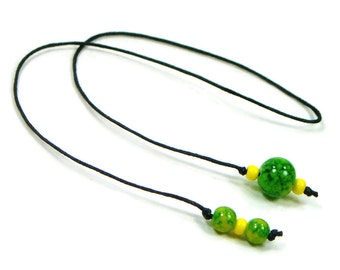 Green Yellow Book Thong Beaded Bookmark Book Cord String Bookmark Gift under 5 Book Club Teacher Gift