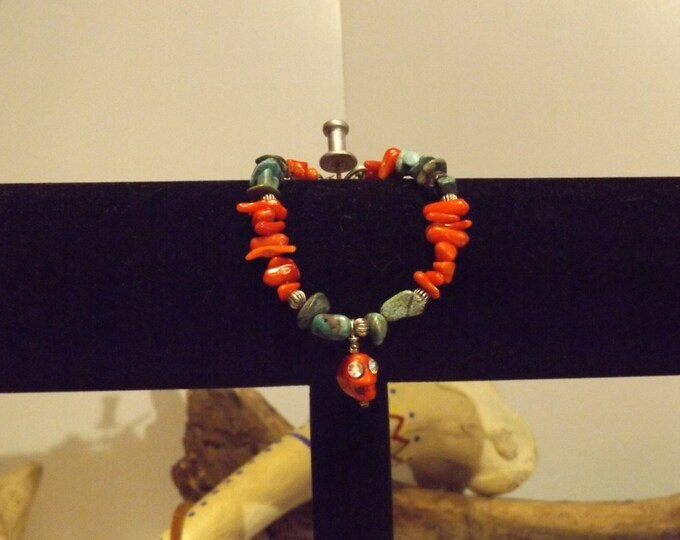 Turquoise and Coral Bracelet, Healing Crystal and Gemstone Jewelry, Healing Bracelet, Native American inspired Healing Crystal and Stones