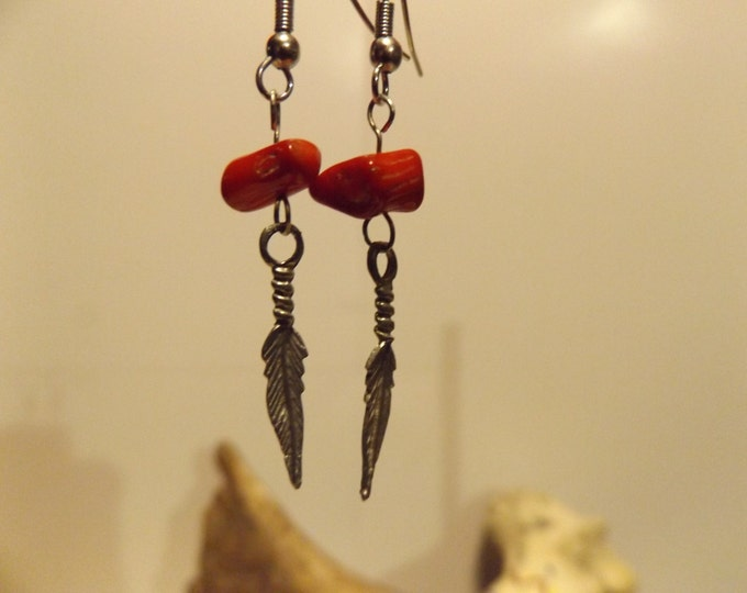 Coral and Feather charm Earrings, Healing Jewelry, Feather Charm, Coral, Red Coral, Native American inspired Jewelry