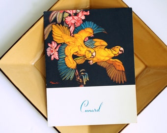 Cunard Lines Luncheon Menu from the R.M.S. Carinthia - 1957 Vintage Collectible - Parrots Theme