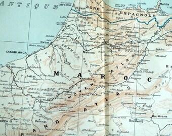 Large Antique Map of North Africa - 1923 Vintage North Africa Map -  Casablanca - Algeria - Morocco - Tunisia - Home Decor