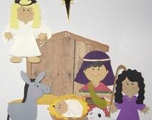 "ON SALE Die Cut Christmas Nativity Set  5.5""  Cards DIY Scrapbooking 9pcs"