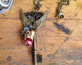 Valentine On the Wings of Love Key Steampunk Necklace