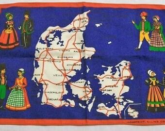 Vintage Copenhagen Souvenir Towel, Copenhagen Table Topper, Copenhagen Couples, Handprint ELLING COPENHAGEN, Vintage Linens, NOS, Folk Art,