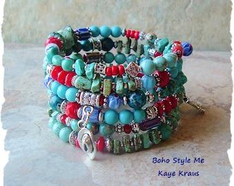 Boho Cowgirl Bracelet, Bohemian Jewelry, Boho Southwest Layered Bracelet, Rustic Stone Bracelet, Boho Style Me, Kaye Kraus