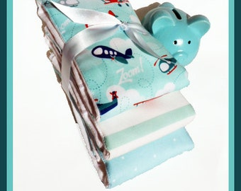 Baby Airplanes Burp Cloth Gift Set Sea Foam for Baby in Designer Riley Blakes Fabric Best Etsy Baby Burp Cloths  Diaper Bag Accessory