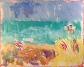 Seacoast Acrylic Painting, fishing boat, seashore blue ocean dune grass beach decor art original ocean painting sea art, Russ Potak