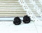 Black Rose Earrings Rose Stud Earrings Black Rose Studs Hypoallergenic Black Flower Earrings Goth Studs
