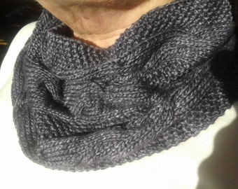 Vegan friendly bamboo snood hand knitted from hand dyed yarn