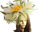 Jenny Olive Green Yellow Fascinator Hat for Weddings, Kentucky Derby With Headband (20 colours)
