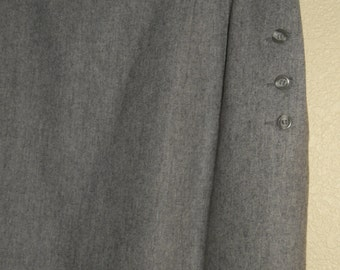 Gray Wool Pencil Skirt with Side Buttons Liz Claiborne size 12