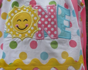 Sample Sale Half OFF sunshine  Birthday Pillowcase Dress, 1st birthday party dress, party dress  name and number included