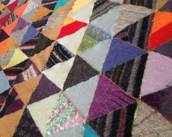 Recycled Wool Baby/ Lap Blanket- Scrappy Triangle Madness-reserved for Autumn at Leaves Fall