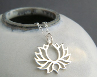 sterling silver symmetrical bloom. lotus flower necklace. small floral charm. yoga yogi jewelry simple petite delicate dainty pendant 3/4""