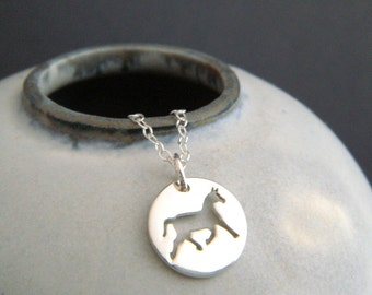 silver horse necklace horseback riding small sterling equestrian pendant. animal pride lover love charm simple equine jewelry gift 1/2""