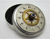 Steampunk Time Capsule - Vintage Tin - Great stocking stuffer - watch parts tin - recycled - upcycled