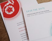 Printable Wedding Invitation & Save the Date Template - Morning Glory - Red Circle Burst - Instant Download - Wedding Invite - Save the Date