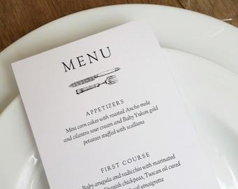 Vintage Cutlery Black and White Printable Menu Template
