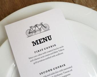 Tandem Bicycle Black & White Wedding Menu Template - Instant Download - Wedding Menu - Printable Menu Template - Menu Template - Menu Cards