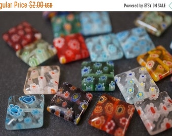 SUMMER SALE Assorted Colors Mixed Millifiori Squares 12mm x 12mm - 10 pieces