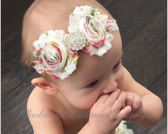 Baby Headband..ReadY to Ship.... Shabby Chic Collection...YOur Choice of Headband....Newborn Collection...Headband Collection