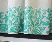 custom Sea Life linen cafe curtain sets