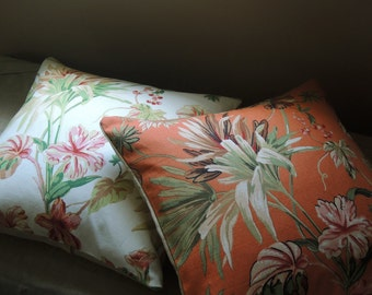 Tropical foliage floral linen cotton blend orange white green botanical decorative palm beach chic home decor colorful pillow covers