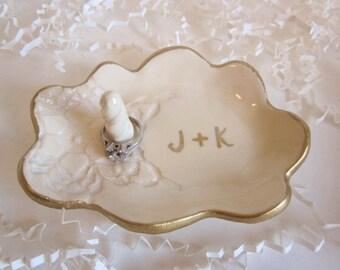 Wedding ring dish edged in gold, ring holder, cloud dish