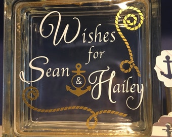 "Nautical Wedding Guest Book Wish Block  - Glass Block with ""Wishes for...""  Anchor Rope Theme  - Paper with anchors to write on - Gold Blue"