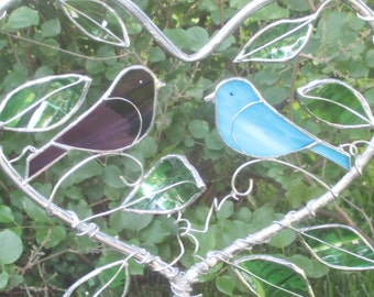 Heart with Birds and Leaves Stained Glass Garden Yard Stake
