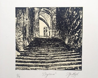 """Waterless Lithography Print - """"Pitigliano"""" - 2 editioned prints available"""
