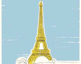 travel decor, Eiffel Tower Print, Travel Themed Decor, Bon Voyage Gift, Famous Architecture, Paris Gift Idea, Destination Art, paris art