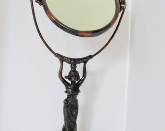 SALE!  Art Nouveau Lady Mirror Stand Oval Figural Beautiful