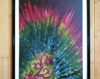 Technicolor Seedling Illustration - Original Acrylic Painting