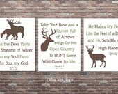Hunting Nursery Decor, Psalm, 18:33, Genesis 27.3, Psalm 42.1, INSTANT DOWNLOAD, Boys Hunting Nursery,Boys Hunting Decor, Hunting Decor