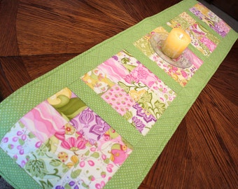 Summer Table Runner Quilt with Moda's Eden Cotton Fabric, Mother's Day, Easter, Floral Quilted Table Runner, Reversible