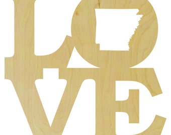 Love Stacked with State Shape in the O - Love Wooden Letters, Love Stacked Shape, Love Stacked, State Shape Cut Out