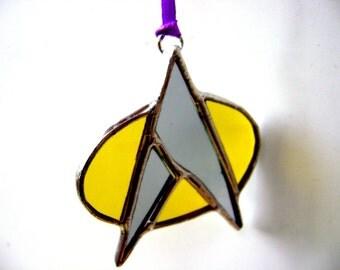 Star Trek Inspired Trekkie Stained Glass Sci Fi Tree Ornament Next Generation Deep Space 9 Handmade OriginalDesign©