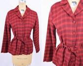 "1970s blouse vintage 70s red plaid button down cinch waist 40s style top L W 35"""