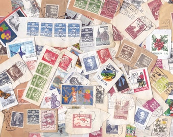 Danish Postage Stamps Vintage & Modern for Crafting Lot of 50 on Paper | from Denmark